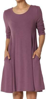 Ash TheMogan Women's 3/4 Sleeve Trapeze Knit Pocket T-Shirt Dress Sand 1XL