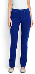 Lands' End Women's Tall Mid Rise Straight Leg Jeans-Rich Sapphire $79 thestylecure.com