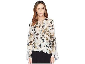 Kenneth Cole New York Wrapped Front Flouncy Sleeve Top
