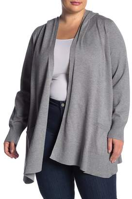 Cable & Gauge Shawl Collar Hooded Cardigan (Plus Size)