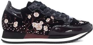 Philippe Model Etoile Black Velvet Sneaker With Embroidered Flowers