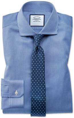 Super Slim Fit Cutaway Non-Iron Puppytooth Royal Blue Cotton Formal Shirt Double Cuff Size 14.5/33