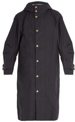 Thom Browne Articulated Sleeve Oversized Hooded Trench Coat - Mens - Navy