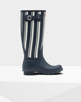 Hunter women's original garden stripe tall wellington boots