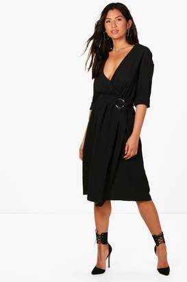 boohoo D Ring Belted Cupro Midi Dress