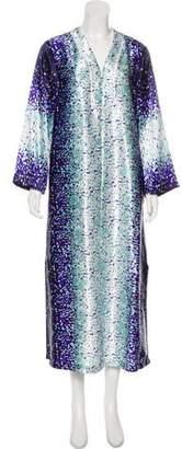 Oscar de la Renta Satin Splatter Print Nightgown