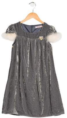 Miss Blumarine Girls' Feather-Trimmed Velvet Dress