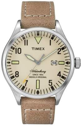 Timex R) Waterbury Leather Strap Watch, 40mm