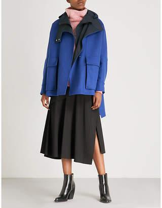 Sportmax Carso asymmetric-hem hooded wool-blend coat