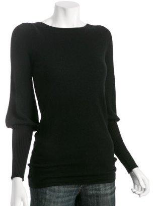 Hayden black cashmere puff sleeve boatneck sweater