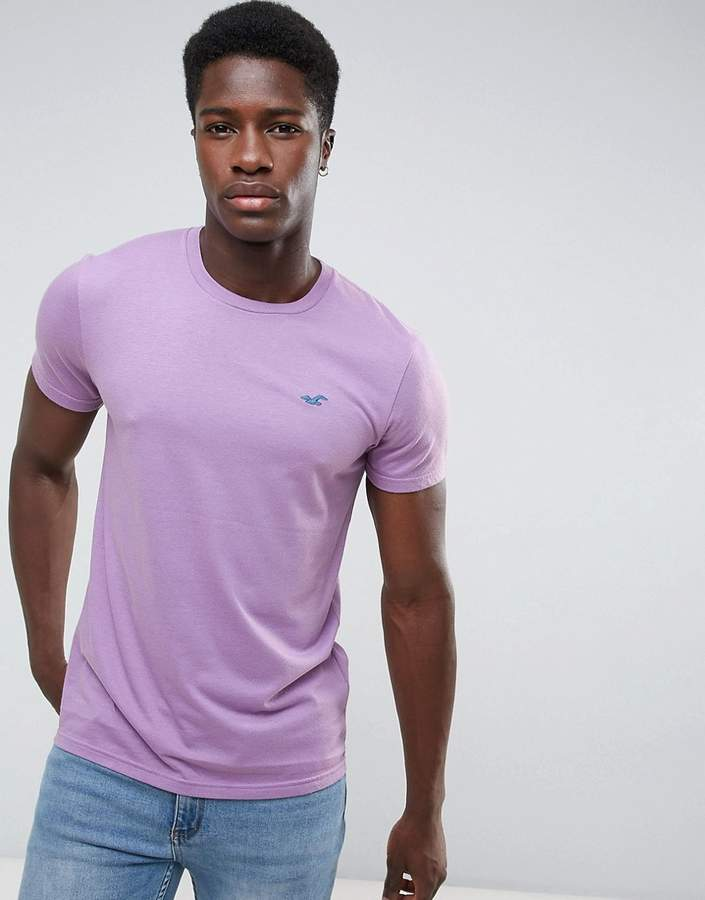 Hollister Crew T-Shirt Slim Fit Core Icon Logo in Purple