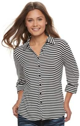 Love, Fire Love Fire Juniors' Knit Button Front Shirt