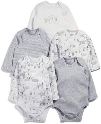 Mamas and Papas Baby Unisex 5 Pack Sheep Long Sleeve Bodysuits