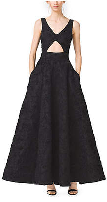 Michael Kors Soutache-Embroidered Cutout Mikado Dress