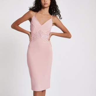 River Island Light pink lace insert bodycon midi dress