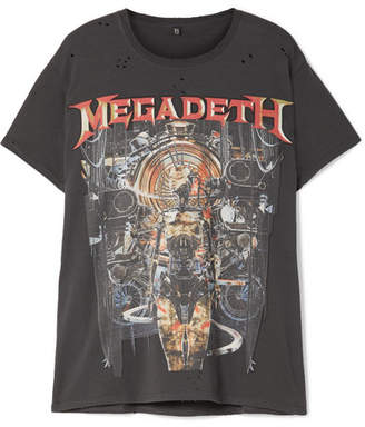 R 13 Megadeth Distressed Printed Cotton-jersey T-shirt - Black