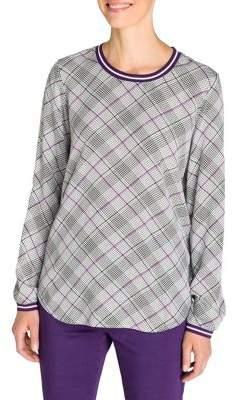 Olsen Cosy Mood Plaid Long-Sleeve Blouse