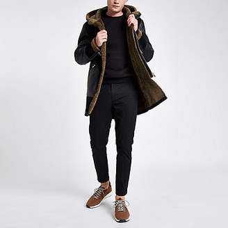 River Island Black suedette hooded parka