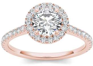 Imperial Diamond Imperial 1-1/4 Carat T.W. Diamond Single Halo 14kt Rose Gold Engagement Ring
