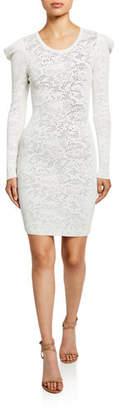 Milly Pointelle Lace Long-Sleeve Draped-Shoulder Sheath Dress