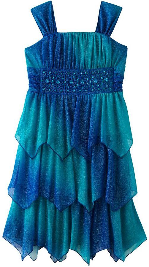 My Michelle glitter tiered dress - girls 7-16