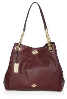 Coach Edie Turnlock Leather Shoulder Bag