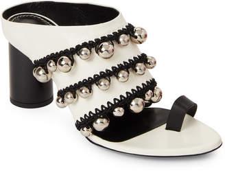Proenza Schouler White & Black Pom-Pom Crochet Mule Sandals