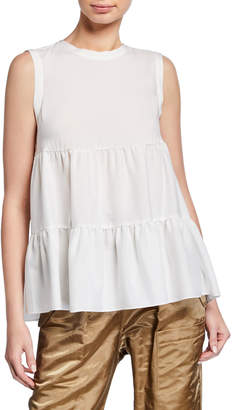 Brunello Cucinelli Crewneck Sleeveless Tiered Ruffle Silk Top