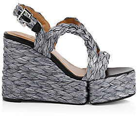 Clergerie Women's Ally Raffia Platform Wedge Sandals
