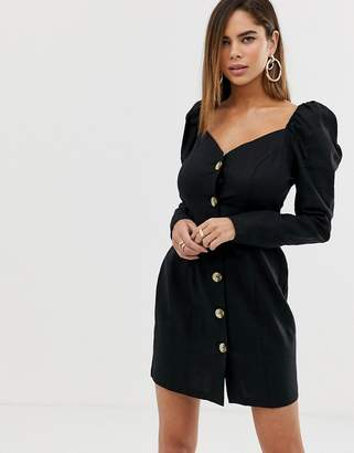 2ea079bf110 Asos Design DESIGN off shoulder button through mini dress with long sleeves