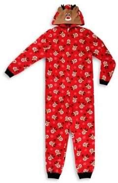 Sleep Nation Kids' Reindeer Blanket Jumpsuit - Family Pajamas