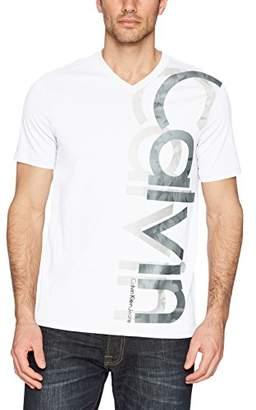 Calvin Klein Jeans Men's Short Sleeve T-Shirt Double Logo V-Neck