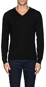 Luciano Barbera MEN'S WOOL V-NECK SWEATER - BLACK SIZE XL