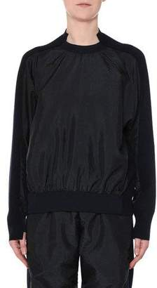 Stella McCartney Nylon-Front Wool-Back Pullover Sweater