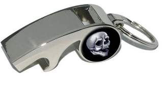 Generic Skull, Death Skeleton Halloween, Plated Metal Whistle Bottle Opener Keychain Key Ring