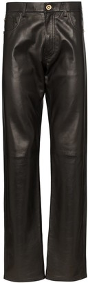 Versace straight-leg leather trousers
