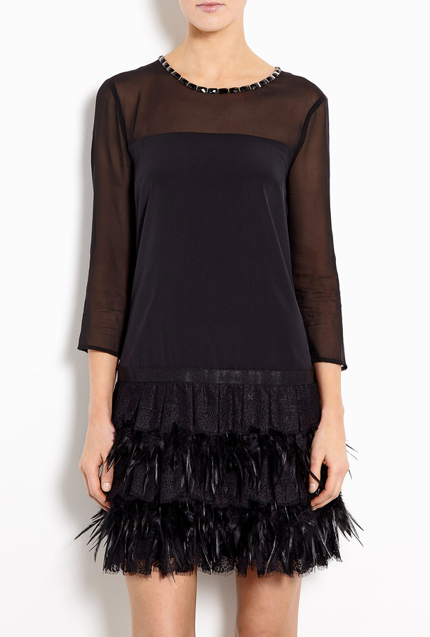 DKNY Stretch Georgette Dress With Lace And Feathers