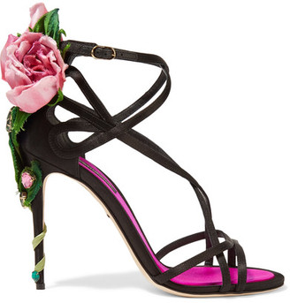 Dolce & Gabbana - Embellished Satin Sandals - Black $1,995 thestylecure.com