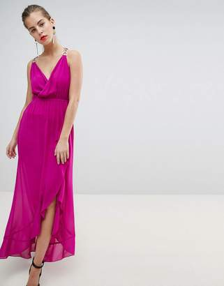 Morgan Wrap Front Midaxi Dress With Chain Strap Detail