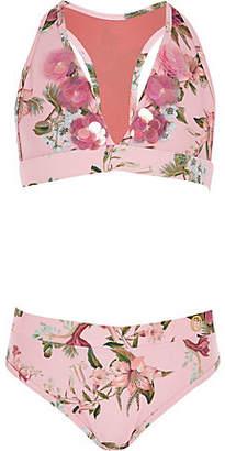River Island Girls pink floral print triangle bikini set