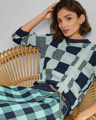 bda23ed2aa5c75 Ted Baker ROCHAR Cotton-linen blend checked jumper