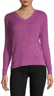 Karen Scott Petite Side Button V-Neck Sweater