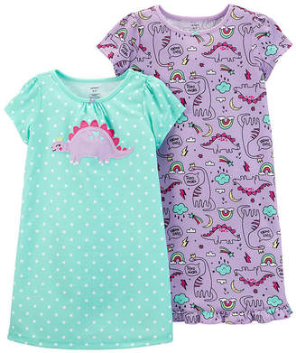 Carter's 2-Pk Round Neck Knit Pajama Nightgown - Preschool Girl