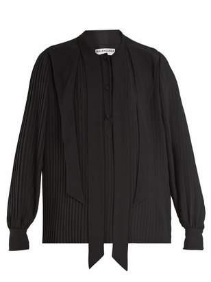 Balenciaga Pleated Georgette Blouse - Womens - Black