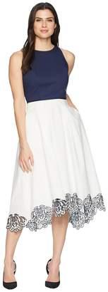 Tahari ASL Sleeveless Cotton Scallop Bottom Midi Dress Women's Dress