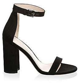 Stuart Weitzman Women's Silk Faille Suede Ankle-Strap Sandals