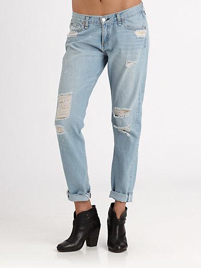 Rag and Bone Selvage Distressed Boyfriend Jeans