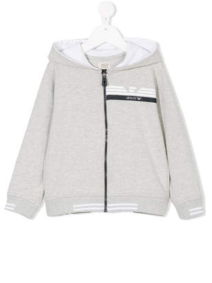 Emporio Armani Kids logo print zip-up hoodie