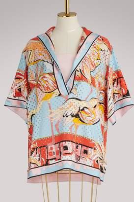 Emilio Pucci Flamingos silk blouse