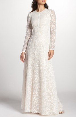 Tadashi Shoji Sheer Sleeve Lace A-Line Gown